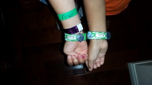 Auntie's Beach House Wristbands. The purple wristband was from Fish Are Friends.